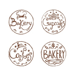 Collection of vintage retro hand draw bakery vector