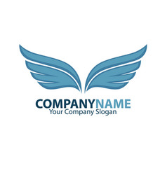 company name emblem with blue bird wings drawn vector image