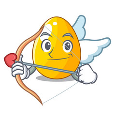 cupid golden egg cartoon for greeting card vector image
