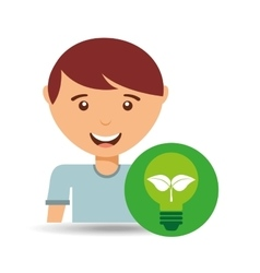 Cute boy eco recycle bulb leaf icon vector