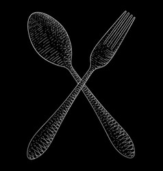 cutlery spoon and fork hand drawn sketch white vector image