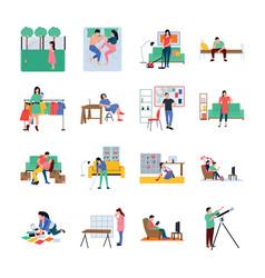daily life flat set vector image