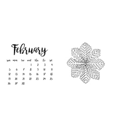 Desk calendar template for month February vector