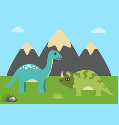 Dinosaurs and nature with sky vector