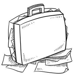 doodle breifcase work stress vector image
