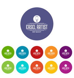Easel artist icons set color vector