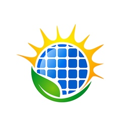 Eco solar energy logo vector