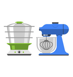 electrical hand mixer dishware isolated vector image vector image