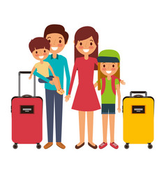 family father mother and kids with vacations vector image