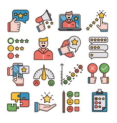 feedback filled outline icons vector image