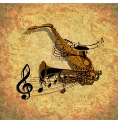 form of saxophone and trumpet vector image