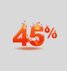 Forty five percent discount numbers on fire vector