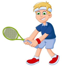 Funny boy cartoon playing tennis vector