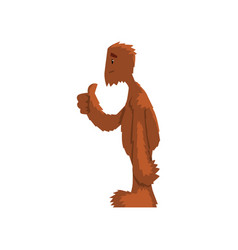 Funny friendly bigfoot showing thumbs up mythical vector
