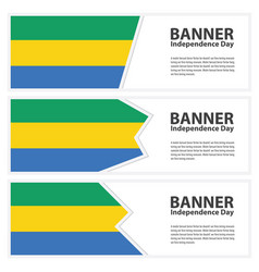 Gabon flag banners collection independence day vector