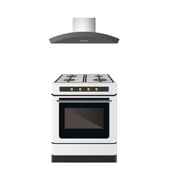 gas stove with exhaust ventilation vector image