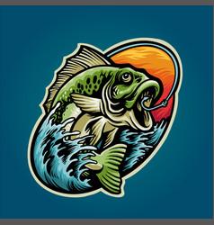 get bass fishing mascot summer graphic design vector image