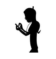 Girl using phone with headphones icon image vector