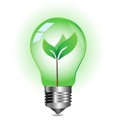Green energy concept plant growing inside vector