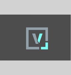 Grey letter v alphabet logo design icon for vector