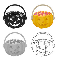 Halloween bucket icon in cartoon style isolated on vector