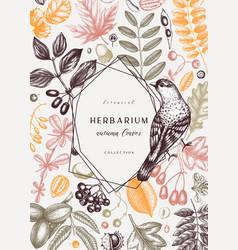 Hand sketched autumn card design in color elegant vector