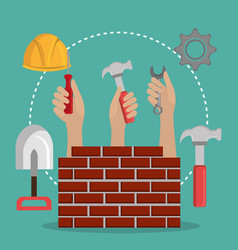 hands workers with under construction icons vector image