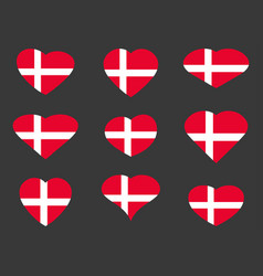 Hearts with the denmark flag i love the denmark vector