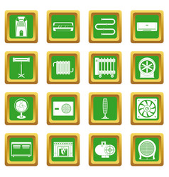 Heating cooling air icons set green vector