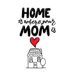 Home is where mom is mother day lettering vector