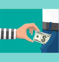 human hand takes money cash from pocket vector image