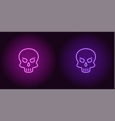human neon skull in purple and violet color vector image