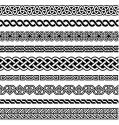 irish celtic seamless border pattern set vector image