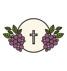 Isolated religion cross and grapes design vector image