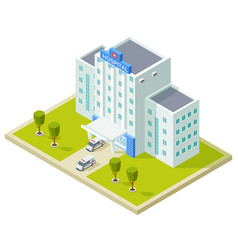 isometric hospital building and ambulance cars vector image