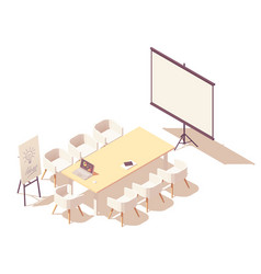 isometric office meeting room interior vector image