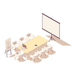 Isometric office meeting room interior vector