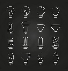 light bulbs hand drawn icons on chalkboard vector image