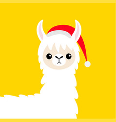Llama alpaca baby face santa hat merry christmas vector