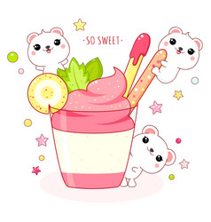 lovely polar bears with strawberry ice cream vector image