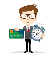 Man with plastic credit card and holding an alarm vector