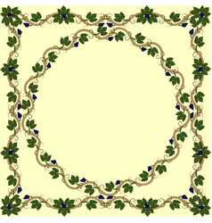 medieval floral frame with bunch grapes grape vector image