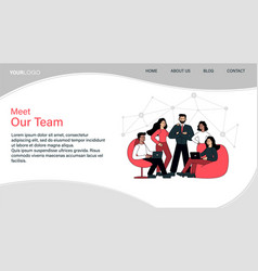 Meet our team web page template vector