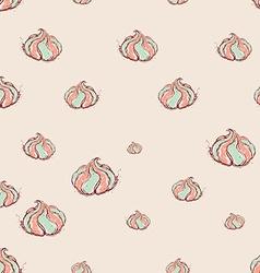 meringue dessert Hand drawn sketch on pink vector image