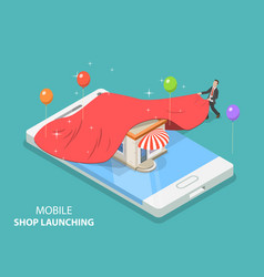 Mobile store app launching flat isometric vector