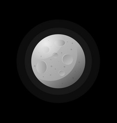 moon textured round planet on black vector image