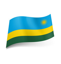 national flag of rwanda wide blue narrow yellow vector image