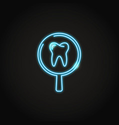 Neon tooth medical research icon in line style vector