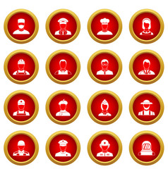 Professions icon red circle set vector