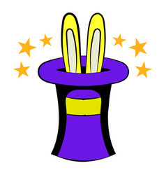 Rabbit in the hat icon cartoon vector